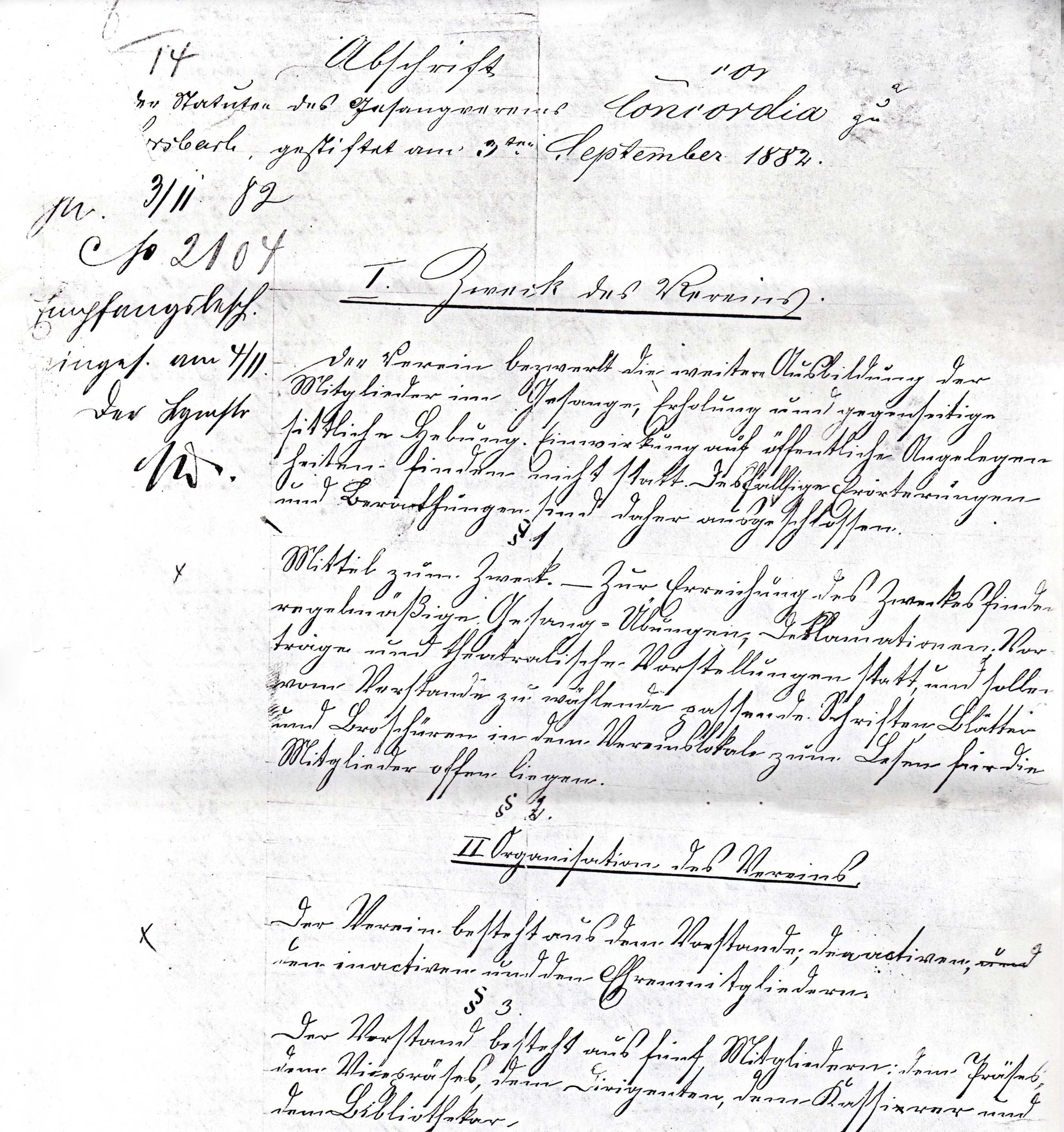 Statuten 1882 Bl. 1/1