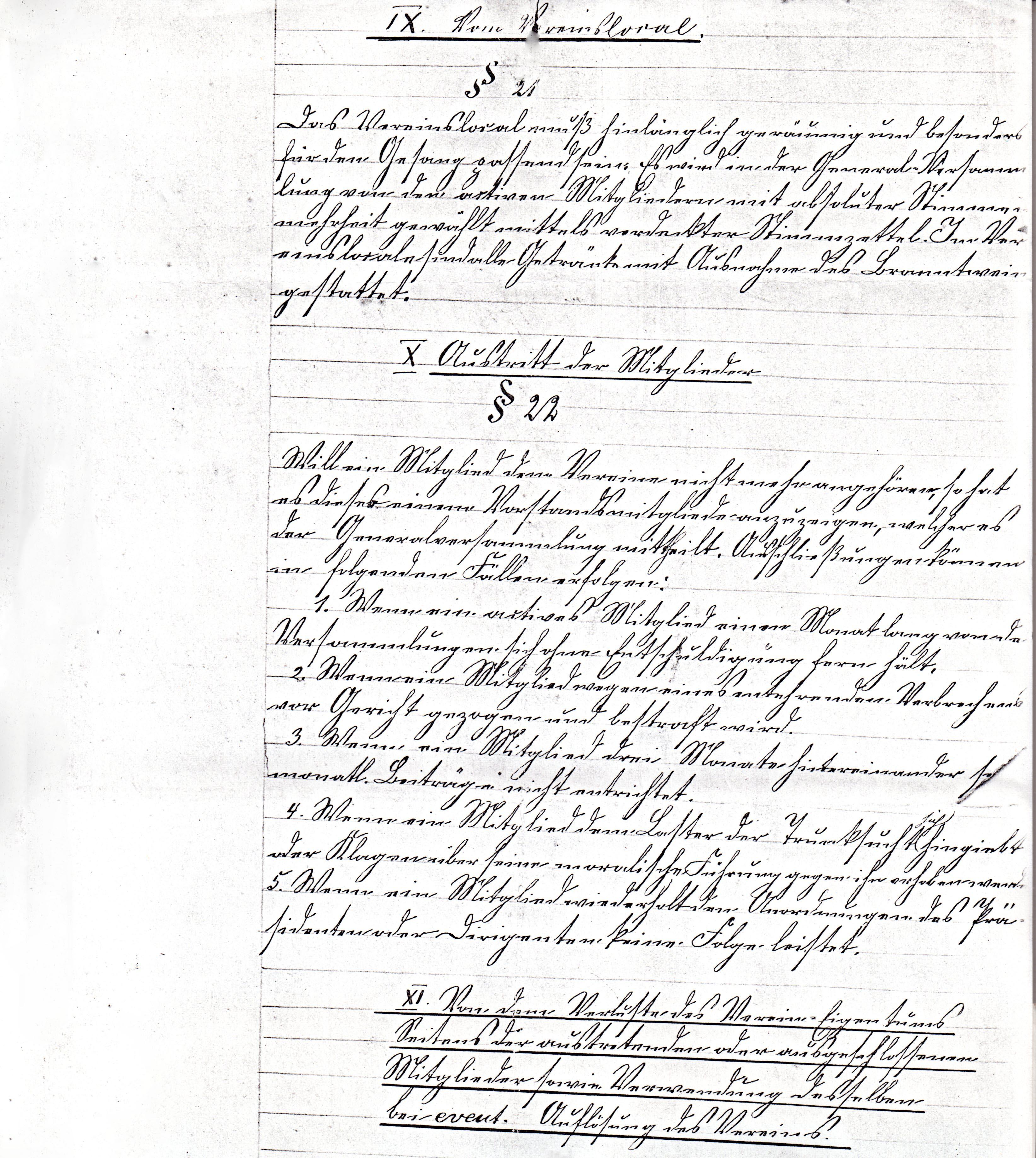 Statuten 1882 Bl. 6/1