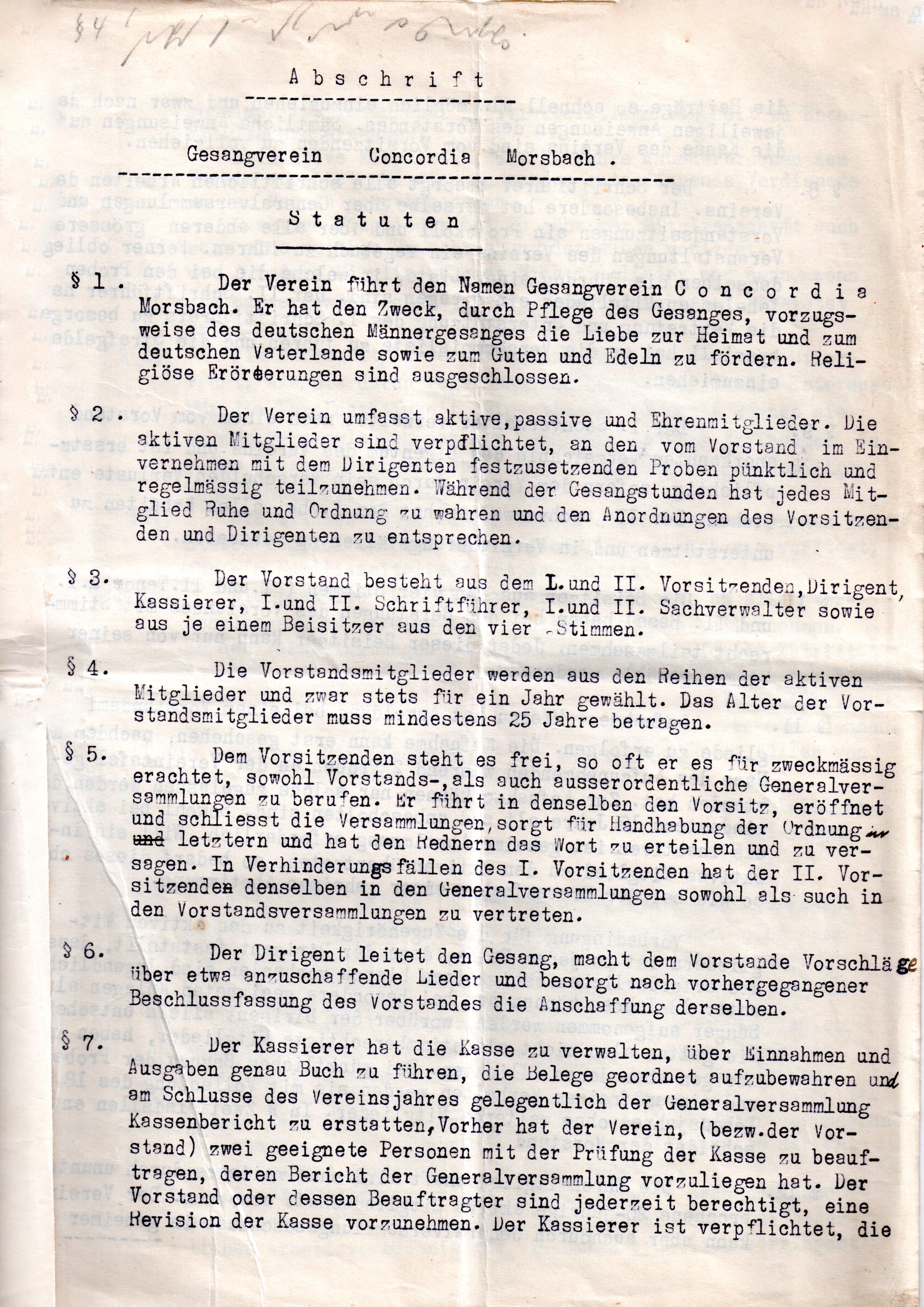 Statuten 1923 Bl. 1
